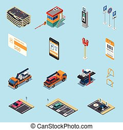 Parking Isometric Icons Set - Parking lots facilities...