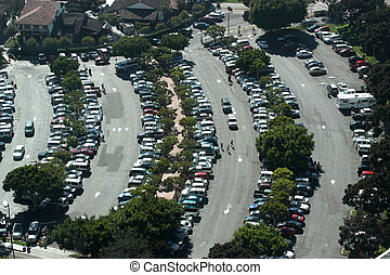 Aerial view of crowded parking lot