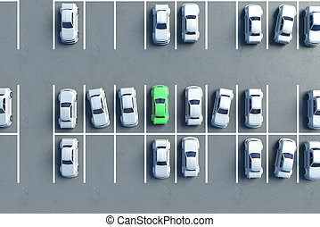 Parking lot aerial view - Aerial view of almost full parking...