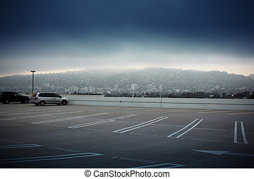 Big empty parking lot space ontop of roof in Los Angeles, California.