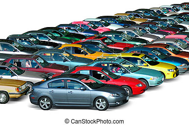Cars in the parking lot isolated in white background