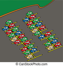 Cartoon illustration of different colored cars on a parking lot