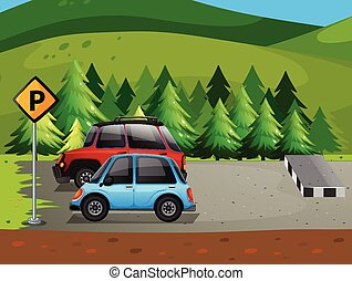 Parking lot - illustration of cars parking at the parking...