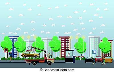 Parking lot concept vector illustration in flat style