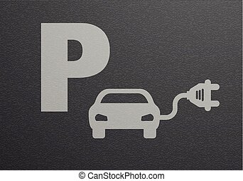 Parking Lot eCar - detailed illustration of an electric car...