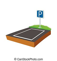 Parking lot icon, cartoon style