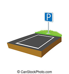 Parking lot icon, cartoon style - Parking lot icon in...
