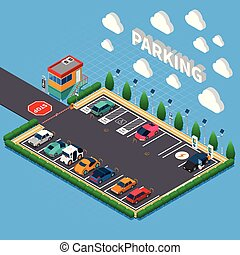 Parking Lot Isometric Composition - Perpendicular parking...