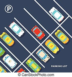 Parking Lot Poster - City element top view poster of parking...