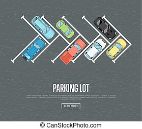 Parking lot poster in flat style