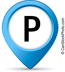 Parking lot sign on white background