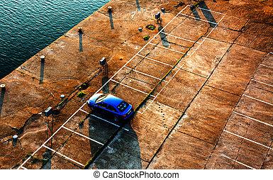 Parking Lot - Car in empty parking lot.