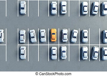 Parking lot top - Top view of almost full parking lot. 3D...