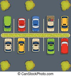 parking lot top view - vector illustration of a parking lot...