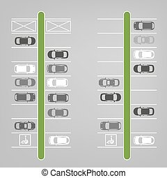 Parking lot top view - Vector graphic illustration of a top...