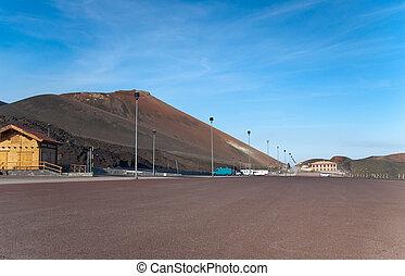 Parking lot under volcano Etna, Sicily, Italy