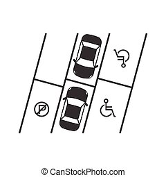 parking lot with disabled sign, silhouette design