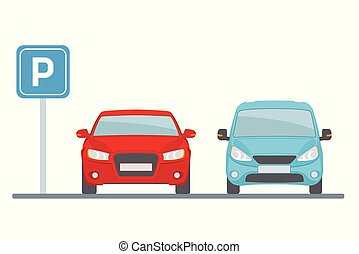 Parking lot with two cars on white background. Flat style, vector illustration.
