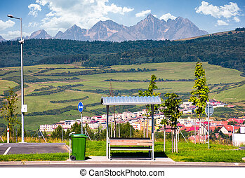 parking lot with view on High Tatra mountains. beautiful...