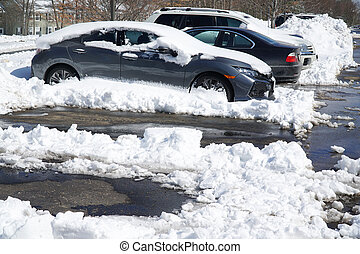 parking lots and cars after blizzard