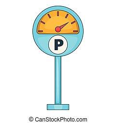 Parking meter icon, cartoon style