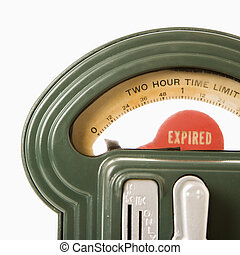 Parking meter. - Parking meter that has expired.