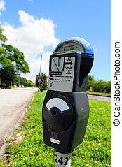 Parking meter - A parking meter on a street with green grass...