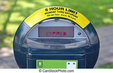 Parking Meter - A metal parking meter that has expired