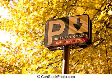Parking meter - Sign of parking meter in Vilnius street....