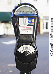 Parking Meter - Closeup of a Black parking Meter With One...