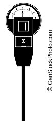 parking meter with three hours time - black silhouette of...