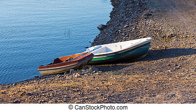Parking of boats on the seashore