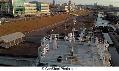 parking of ships in the port on the river, aerial shooting...