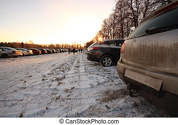 parking on a meadow in the winter
