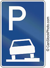 Parking On Pavement - German traffic sign: parking on...