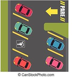 Parking or park zone design, vector illustration.