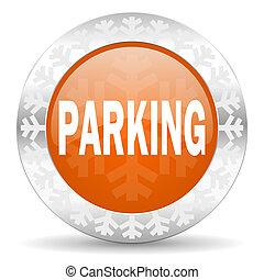 parking orange icon, christmas button
