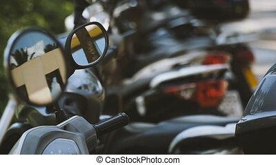 Parking. Parking mopeds