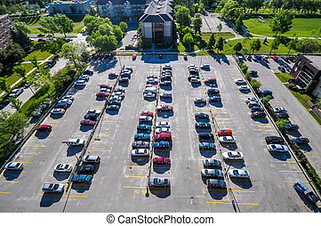 Parking place - Aerial view at parking in Winnipeg City,...
