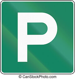 Parking Place in Canada - Guide and information road sign in...