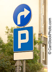 Parking place road sign on the street