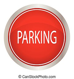 parking red circle glossy web icon