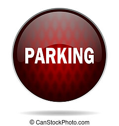 parking red glossy web icon on white background