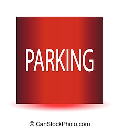 ???Parking red glossy web icon.