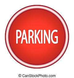 parking red round glossy modern design web icon