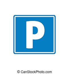Parking road sign vector icon flat cartoon square modern design isolated