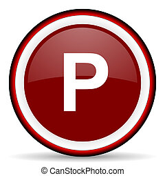 parking round glossy icon, modern design web element
