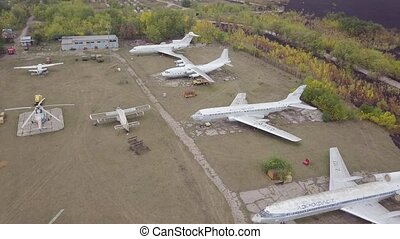parking, samolot, retro