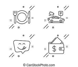 Parking security, Yummy smile and Restaurant food icons set. Wallet sign. Video camera, Emoticon, Cutlery. Vector