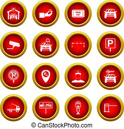 Parking set icon red circle set